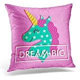 TEPEED Decorative Pillow Cover Colorful Head Witn Unicorn and Text 'Dream Big' Motivation Stiker Sticker Throw Pillow Case Square Home Decor Pillowcase 18x18 Inches