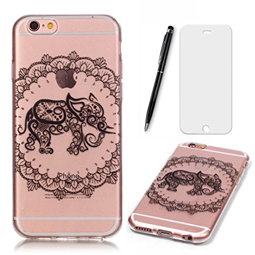 Preisvergleich Produktbild Lotuslnn iPhone 6/6S Hülle,iPhone 6/6S Case TPU Silikon Transparent Schutzhülle Tasche Housse (Hülle+ Stylus Pen + Tempered Glass Protective Film)- Heureux ensemble