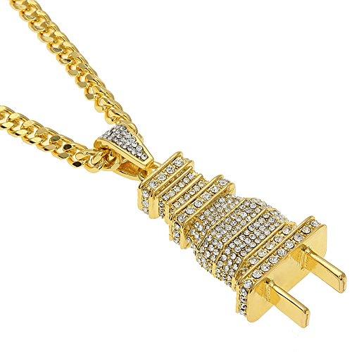 Mcsays Hip hop 18 carati placcato oro titanio spina a spina con strass catena cubana collana uomo gioielli per regalo (oro)