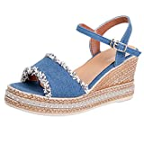 LuckyGirls Women Peep Toe Breathable Beach Sandals Rome Buckle Strap Casual Wedges Shoes