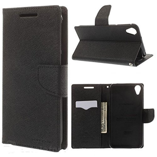 SCHOFIC Premium Fancy Wallet Diary Faux Leather Mobile Flip Case Cover [Pouch] with Card Slots [Pockets], Stand View and Magnetic Strap [Locking] for HTC Desire 728/728G Dual Sim - Best Black