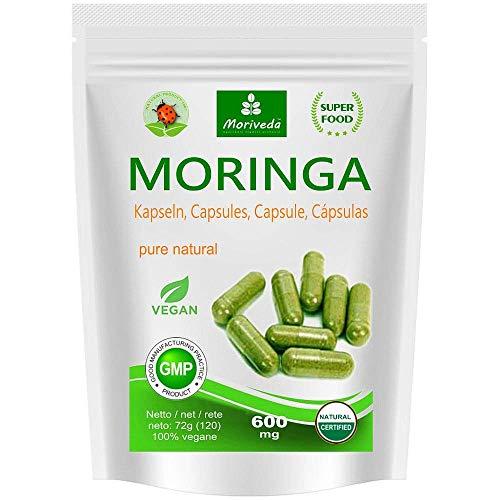 moringa capsules 600mg o moringa energia compresse 950mg - oleifera, vegan, prodotto di qualità da moriveda (120 capsules)