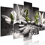 murando Bilder nachtleuchtend 200x100 cm Tag & Nacht Wandbilder 5 TLG Bilder 3D nachleuchtende Farben Kunstdruck Vlies Leinwand XXL Fertig Aufgespannt - Blumen Lilien b-A-0362-ag-p