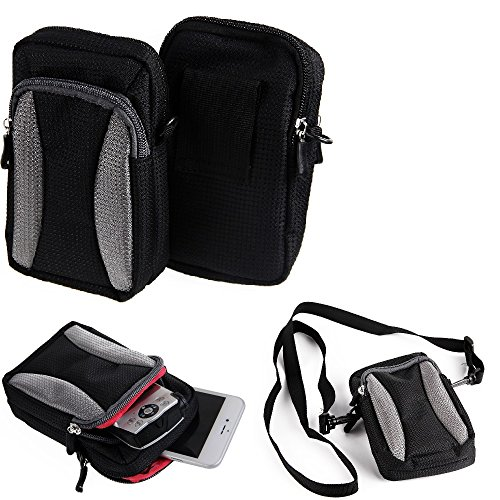 Belt pouch / holster for Sony, Samsung, Panasonic, black | Extra compartments...