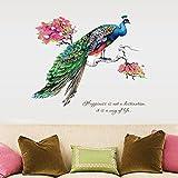Wand Aufkleber, Transer® Wandtattoo 99* 82DIY chinesischen Stil Pfau TV Hintergrund Wand Dekoration abnehmbare Wandsticker