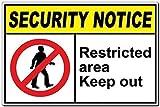 Dozili Plaque en Aluminium avec Inscription en Anglais « Restricted Area Authorized People Only », Aluminium, 1 Couleur, 8' x 12'