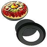ZHENGRONG Herausnehmbarer Boden Quicheform Hebeboden Ø 22 cm Runde Schwarze Obstkuchenform Mit Antihaftbeschichtung