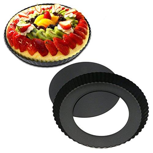 Herausnehmbarer Boden Quicheform Hebeboden Ø 22 cm Runde Schwarze Obstkuchenform Mit Antihaftbeschichtung