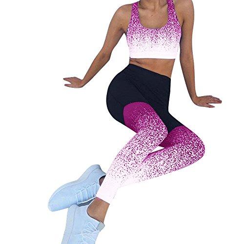 (LEEDY ❤️️ Damen Yoga Leggings Hose High Waist Fitness Training Gym Stretch Running Freizeit Farbverlauf Volltonfarbe Tasche Hüfte Gamaschen)