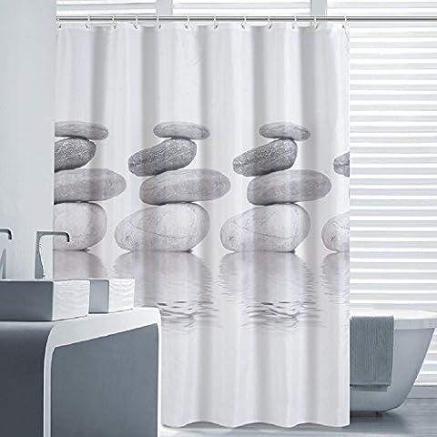 Norcho 180x180CM Cortina de baño de Tela Impermeable Resistente al Moho con Imagen de Gris Guijarro Cortina de Ducha de Fodo Blanco con 12 Anillos