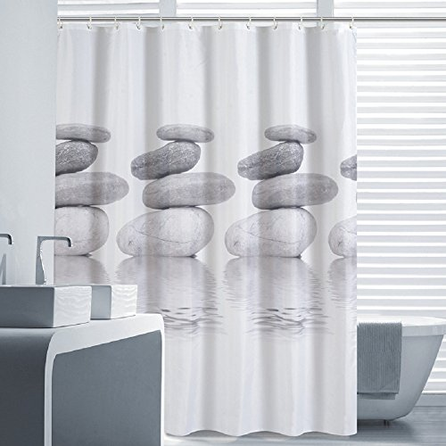 Norcho 72``x72`` Water-Repellent Mildew Resistant Grey Cobble Shower Curtain Liner White with 12 Roller Ring