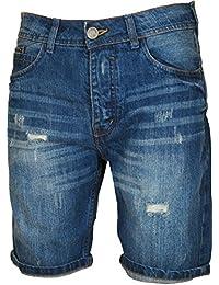 BRAVE SOUL Short en jean avec braguette boutonnée détruit Longueur au genou-Effet vieilli-Pantalon Jeans
