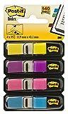 Post-it Haftstreifen 683-4AB Index Mini (11,9 x 43,2 mm, 4 x 35 Haftstreifen im Spender) gelb/lila/pink/türkis