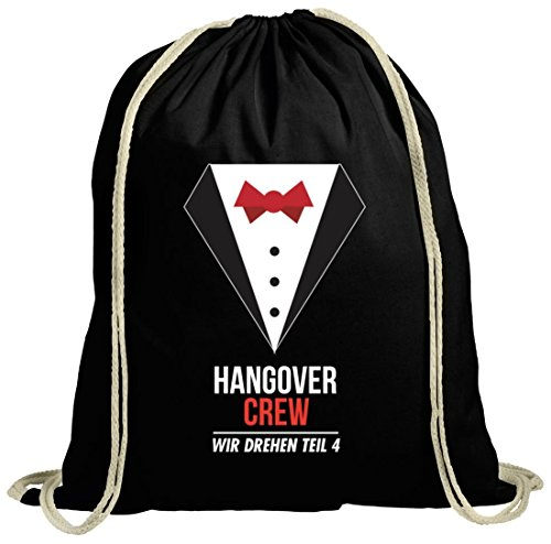 Junggesellenabschieds JGA Hochzeit natur Turnbeutel Suit Hangover Crew schwarz natur