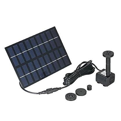 Decdeal Solar Powered Water Pump Solar Pond Pump Upgraded Submersible Fountain Pump for Bird Bath 170L/H 1