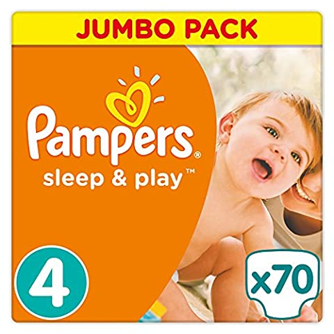 Pampers - Sleep & Play - Couches Taille 4 (7-18 kg/Maxi) - Jumbo Pack (x70 Couches)