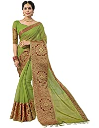 Pisara Women's Silk Saree With Blouse Piece,Green