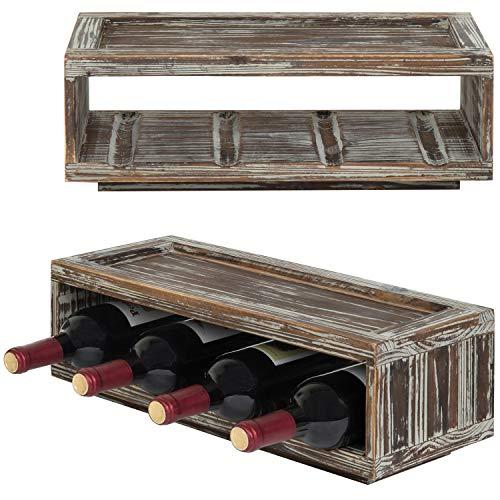 MyGift Weinregal, für 4 Flaschen, stapelbar, Holz, 2 Stück - Sammlung Rote Lackierung