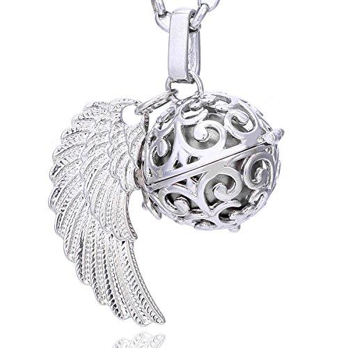 Morella Damen Schutzengel Halskette Edelstahl 70 cm mit Anhänger Engelsflügel und Klangkugel Silber Ø 16 mm in Schmuckbeutel