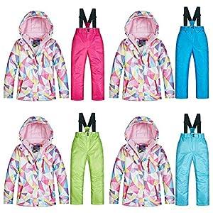 Grandnessry Snowboard Suit MUTU Snow Set Mädchen Winter Outdoor Wasserdichte PINK Warme Verdickte Tarnung Skianzug Set Design Snowboard-Jacke Hosen Set by