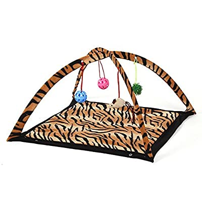 Cat Activity Play Mat Pet Kitten Padded Bed Cat Play Center with Hanging Toy Balls and Mice