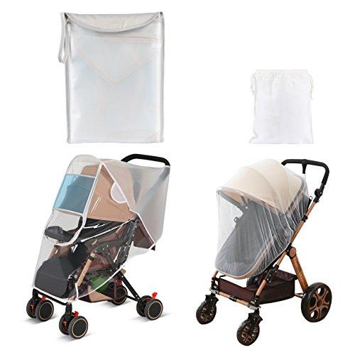 LEMESO Universal Cubierta Lluvia Carrito con Mosquitera Blanca para Carrito Bebé