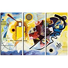 Vassili Kandinsky - Amarillo Rojo Azul, 1925, 3 Partes Cuadro, Lienzo Montado Sobre Bastidor (180 x 120cm)