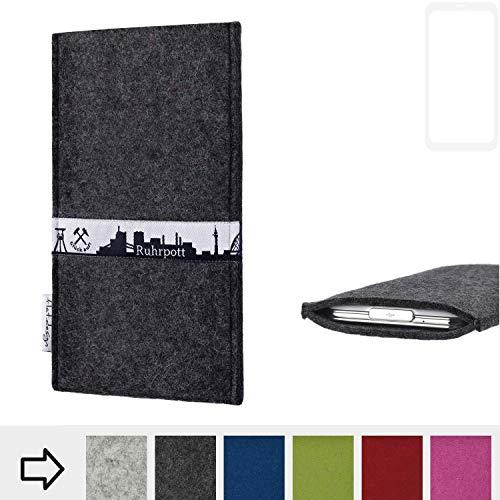 flat.design für Vestel V3 5580 Dual-SIM Schutzhülle Handy Tasche Skyline mit Webband Ruhrpott - Maßanfertigung der Schutztasche Handy Hülle aus 100% Wollfilz (anthrazit) für Vestel V3 5580 Dual-SIM