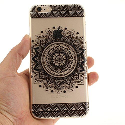 Felfy Coque pour iPhone 6S Plus,iPhone 6 Plus Case,iPhone 6 Plus Ultra Slim TPU Case Housse Silicone Souple Etui Gel Fine Couverture Arrière Anti Poussières Couvercle Anti Rayures Motif Transparent Ca Noir Mandala