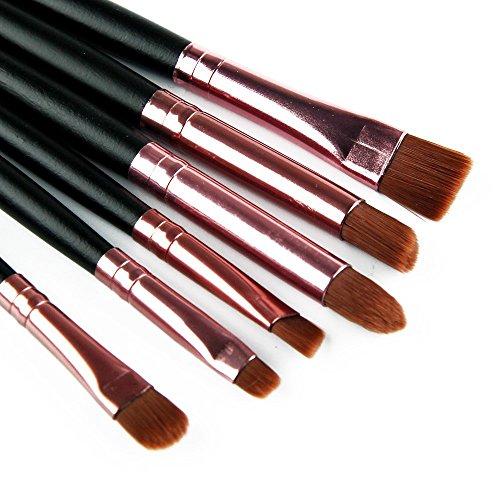Kit de 6 pinceaux en bois professionnel de brosses de poignée pour les yeux et les lèvres de visage (Noir-Café)