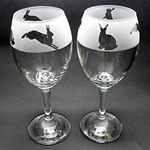 bunny rabbit design pair of wine glasses easter gift kitchen home. Black Bedroom Furniture Sets. Home Design Ideas