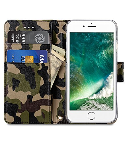 Apple Iphone 7 Melkco Jacka Type Premium Leather Case with Premium Leather Hand Crafted Good Protection,Premium Feel-Red LC Black/Camouflage