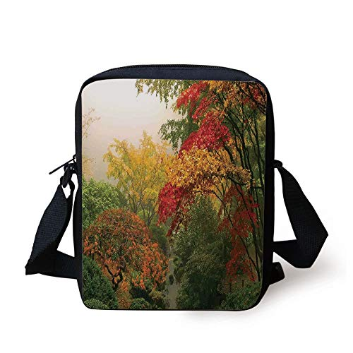 Country Home Decor,Maple Trees in the Fall at Portland Japanese Garden One Foggy Morning Scenery,Red Yellow Green Print Kids Crossbody Messenger Bag Purse (Coach Tablet-fall)