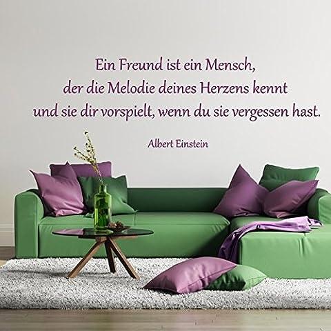 Un ami est un homme... A. Einstein–Citation Sticker mural (Sticker mural décoration murale Wohndeko Salon Chambre d'enfant chambre mur des autocollants), violet, 315 x 100