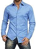 Redbridge Hemd Langarm einfarbig Herren Slim Fit Business Gr. S, blau