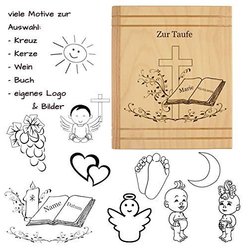 Spardose mit Gravur - als Geschenk zur Taufe, Kommunion, Konfirmation, Firmung - personalisiert mit Name, Datum, Motiv, Sprüchen oder Widmungen (Kommunion Die Für Kleid Weißes 1.)