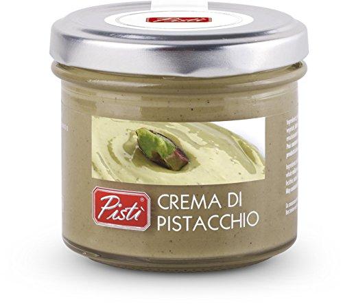 Crema spalmabile artigianale di pistacchio preparata con il 45% di pistacchi di sicilia e olio d'oliva extravergine in vasetto da 90 g