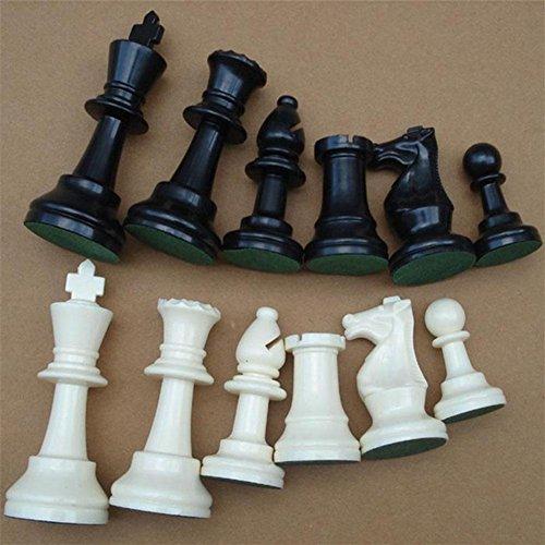 Dilwe Schachfiguren Set, Internationales Schachspiel aus Kunststoff Schachfiguren Set Schwarz & Weiß(A)