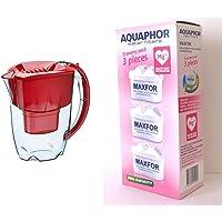 Aquaphor Maxfor B100-25 Carafe filtrante Améthyste Rouge cerise & MAXFOR (B25) Mg Pack de 3 cartouches filtrantes…