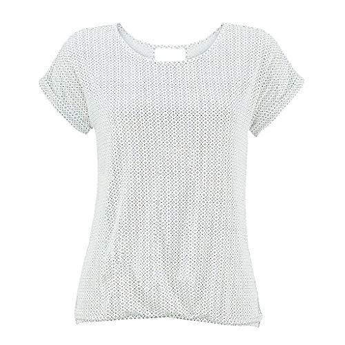 Yvelands Damen T-Shirt Rundhals Kurzarm Shirt mit Print Sommer Bluse Tops(Weiß2,XXL)
