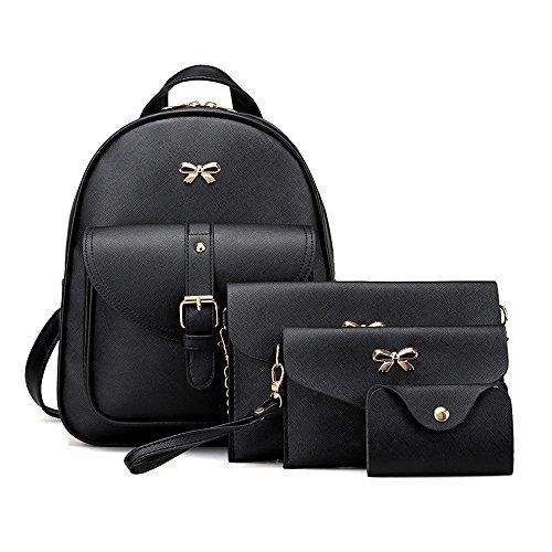 Brezeh, Taschenset für Damen mit Rucksack, Handtasche, Portemonnaie, Kartenetui (4-teilig) -