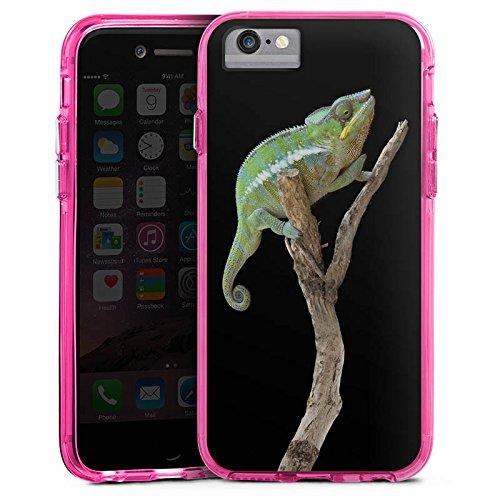 Apple iPhone 7 Bumper Hülle Bumper Case Glitzer Hülle Echse Ast Chamaeleon Bumper Case transparent pink