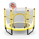 Trampoline mit Gehäuse und Basketballkorb - Runder Sprungtisch für Strand/Hof/Rasen, Geschenk für Kinder/Mädchen/Jungen, Unterstützung 200kg gartentrampolin (Farbe : Gelb)