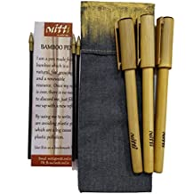 mitti se mitti tak... Set of 3 Eco Friendly Refillable Bamboo Pens in a Fabric Pouch (3 Refills Included)