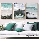 Viaggio paesaggio tela wall art poster stampa nordica pittura natura decorazione foto casa moderna senza cornice 3 pz Poster (Color : 3 pieces, Size (Inch) : 30X40cm)