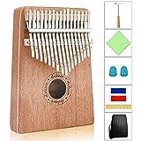 HELESIN Kalimba 17 Schlüssel, Daumenklavier Kalimba Thumb Piano Finger Solide Kalimba Instrument mit Wasserdichte Schutzbox (Mahagoni)