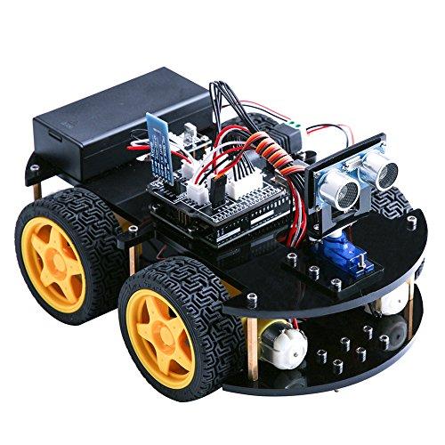 Elegoo-Coche-Robtico-Inteligente-Versin-2-con-Espanol-Tutorial-con-Cuatro-Ruedas-Mdulos-de-Seguimiento-de-Linea-Sensor-por-Ultrasonidos-Modulo-Inalmbrico-Bluetooth-y-Control-remoto-a-Travs-de-Infra-ro