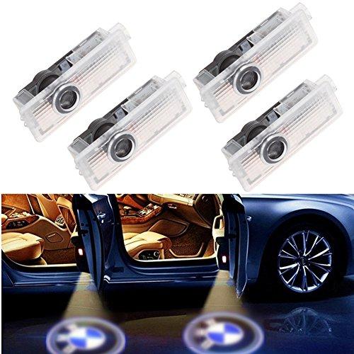 BSVLIA Luce per Porta Auto Logo Light, 4 luci per Porta Automatica per Auto Proiettore Cortesia di Benvenuto Lampada per Porta Ombra Fantasma Welcome Light per X1 E84 X3 E83 M3 M5 E90 E91 E92 E93