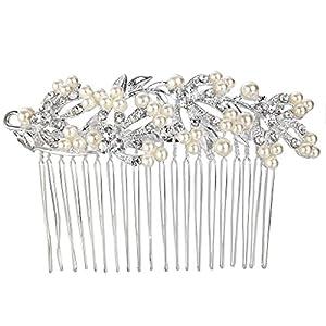 Clearine Damen Haarkamm Böhmisch Künstliche Perlen Blume Blatt Hochzeit Braut Filigran Haarkamm Haarschmuck Silber-Ton