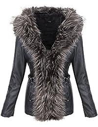 Designer Damen Kunstleder Jacke Mantel Kurzmantel Winterjacke Fellkragen D-379  S-XL 98a9027af2